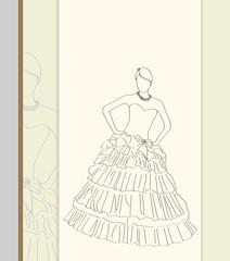 wedding dress in line-art style