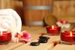 canvas print picture - wohlfühl-sauna mit Kerzen