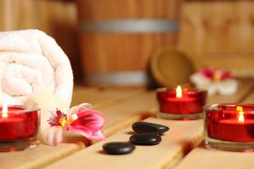wohlfühl-sauna mit Kerzen