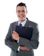Happy businessman holding a clipboard