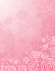 background with many pink roses, vector