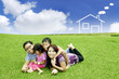Happy Asian Family with dream house