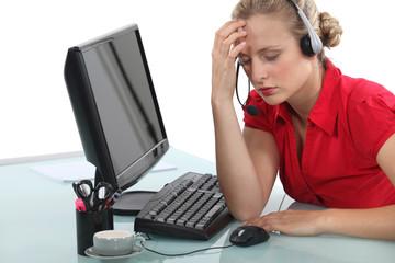 Stressed call-center operative
