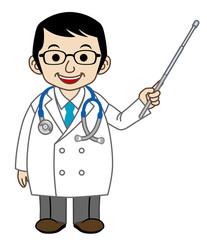 説明する医師(指示棒)