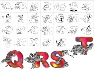 abc alphabet background zoo design qrst