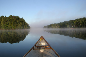 Canoe Bow on a Misty Lake - Ontario, Canada