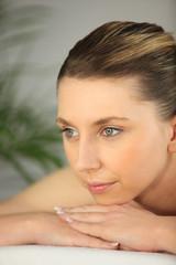 Closeup of a woman having a back massage