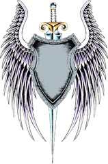 emblem badge with wing design