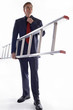 Man in business suit holding a ladder.