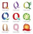 Ensemble d'Icones Lettre Q pour Design Logos