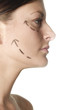Woman's face with arrows showing up.