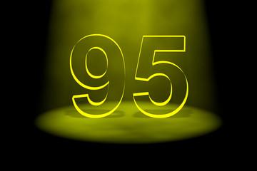 Number 95 illuminated with yellow light