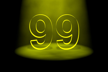 Number 99 illuminated with yellow light