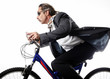 Businessman cycling.