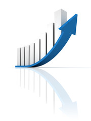 business growth up bar graph with blue arrow
