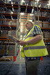 Man checking warehouse goods