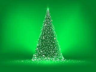 Christmas green card on green. EPS 8