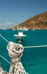 Nautical rope hanging on the sailboat