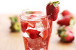 Cold drink with strawberries