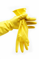 Woman's hand in a rubber glove on a white background.