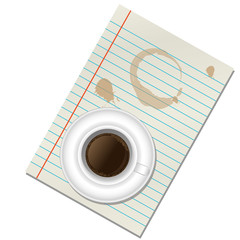 a cup of coffee on the paper isolated on white background
