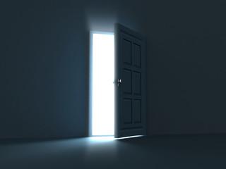 Open bright door opposite to dark wall