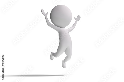 Happy 3d human jumps on white background