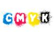CMYK Toner formt Buchstaben