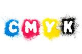 Fototapety CMYK Toner formt Buchstaben