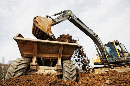 canvas print picture tracked excavator