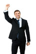 Happy businessman , isolated
