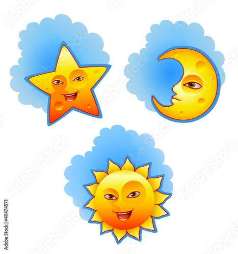 太阳月亮和星星图片