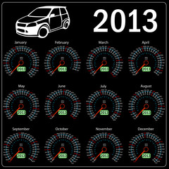 2013 year ñalendar speedometer car in vector.