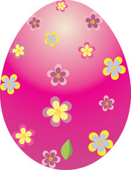 Pink Easter egg decorated with flowers