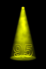 Number 95 illuminated with yellow spotlight