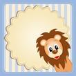 Cute lion on decorative background - birthday invitation