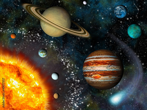 fototapeta na ścianę Solar System 3D
