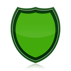 Green protection shield isolated over white