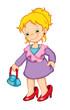 bambina con scarpe grandi