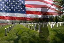 Sylwetka Soldier, american flag i nagrobki.