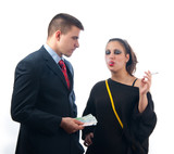 Young businessman giving money to the girl of questionable moral