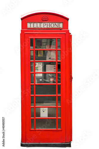 British Red Phone Booth isolated on white - 40480157