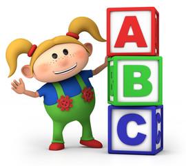 girl with ABC blocks