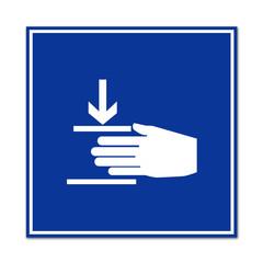 Señal peligro atrapar manos
