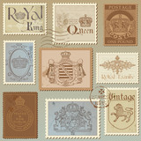 Set of Vintage Royalty Stamps - High Quality -  in vector poster