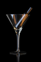 bottle in martini glass