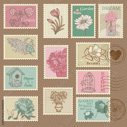Retro Flower Postage Stamps - for wedding design, invitation