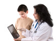 Doctor pointing her child patient on tablet PC