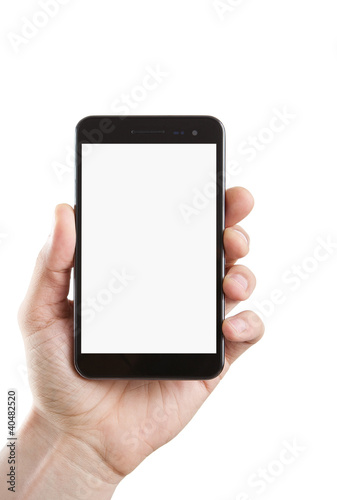 Blank smart phone with clipping path for the screen