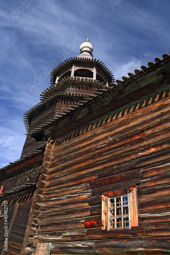 aging wooden chapel in village